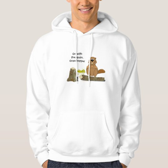 Funny Wood Turning Beaver and Grasshopper Cartoon Hoodie