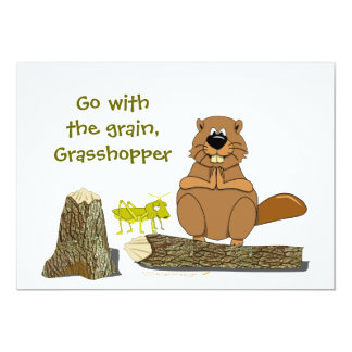 Funny Wood Turning Beaver and Grasshopper Cartoon 5x7 Paper Invitation Card