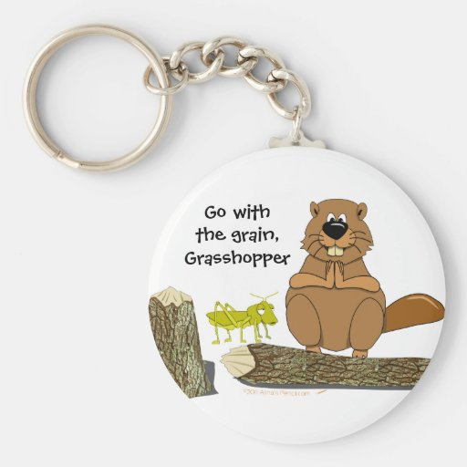 Funny Wood Turning Beaver and Grasshopper Cartoon Keychain