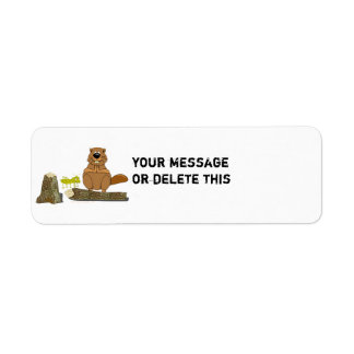 Funny Wood Turning Beaver and Grasshopper Cartoon Label