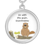 Funny Wood Turning Beaver and Grasshopper Cartoon Round Pendant Necklace