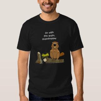 Funny Wood Turning Beaver and Grasshopper Cartoon Shirt