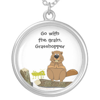Funny Wood Turning Beaver and Grasshopper Cartoon Silver Plated Necklace
