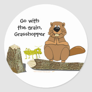 Funny Wood Turning Beaver and Grasshopper Cartoon Round Stickers
