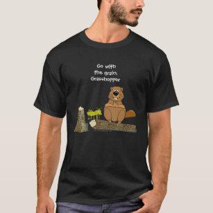 b2d9099a Funny Wood Turning Beaver and Grasshopper Cartoon T-Shirt