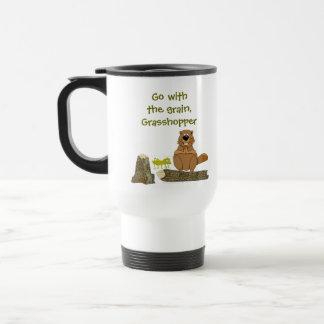 Funny Wood Turning Beaver and Grasshopper Cartoon Travel Mug