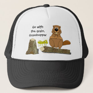 Funny Wood Turning Beaver and Grasshopper Cartoon Trucker Hat