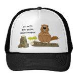 Funny Wood Turning Beaver and Grasshopper Cartoon Trucker Hat