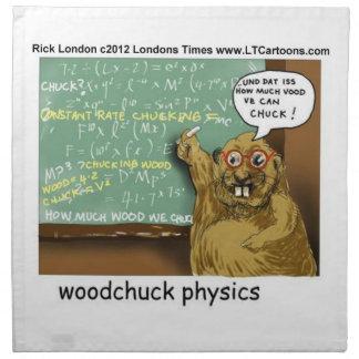 Funny Woodchuck Physics Table Napkin by Rick Londo