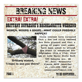 Funny Woods Bachelorette Party Invitation