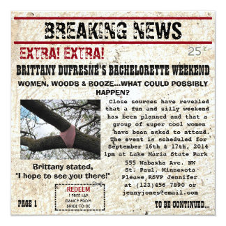 Funny Woods w/coupon Bachelorette Party Invitation