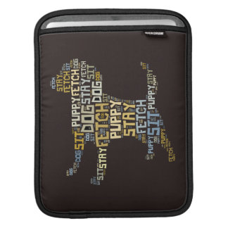 Funny Word Cloud Dog Sit Stay Fetch Sleeves For iPads