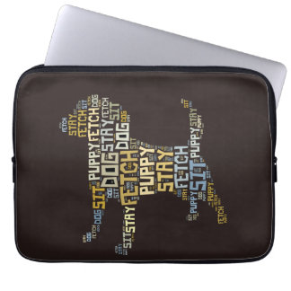 Funny Word Cloud Dog Sit Stay Fetch Computer Sleeve