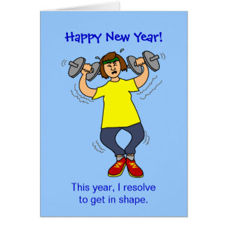 Funny Workout Resolution Cartoon New Years Card