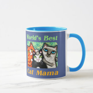 Funny World's Best Cat Mom Ringer Mug