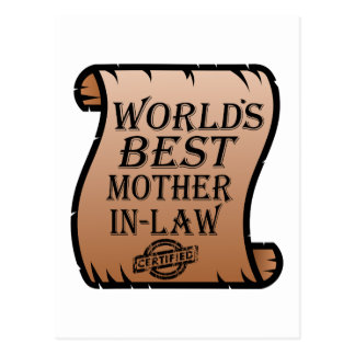 Funny Worlds Best Mother-in-law Certificate Postcard
