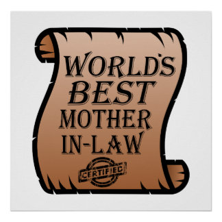 Funny Worlds Best Mother-in-law Certificate Poster