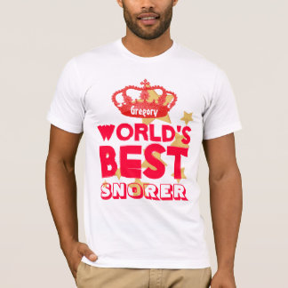 Funny World's Best SNORER Red Crown and Stars V23 T-Shirt