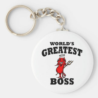 Funny World's Greatest Bos Basic Round Button Keychain