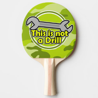 Funny Wrench; bright green camo, camouflage Ping Pong Paddle