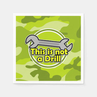 Funny Wrench; bright green camo, camouflage Paper Napkin