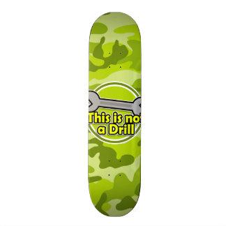 Funny Wrench; bright green camo, camouflage Skateboard Decks
