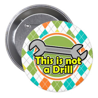 Funny Wrench; Colorful Argyle Pattern Button