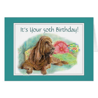 Funny Wrinkled Hound Dog Old Age 50th Birthday Card