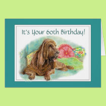 Funny Wrinkled Hound Dog Old Age 60th Birthday Card