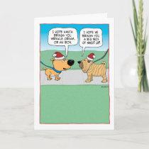 Funny Wrinkly Dog Christmas Holiday Card