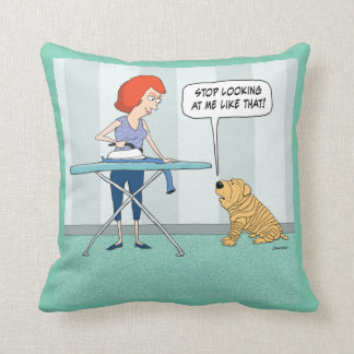 Funny Wrinkly Shar-Pei Dog Suspicious of Iron Throw Pillow