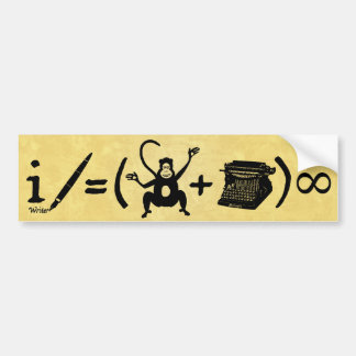 Funny Writer Monkey Typewriter Equation Bumper Sticker