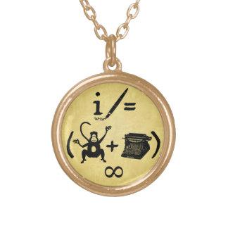 Funny Writer Monkey Typewriter Equation Gold Plated Necklace