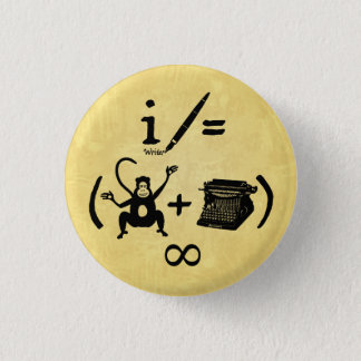 Funny Writer Monkey Typewriter Equation Pinback Button