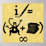 Funny Writer Monkey Typewriter Equation Print