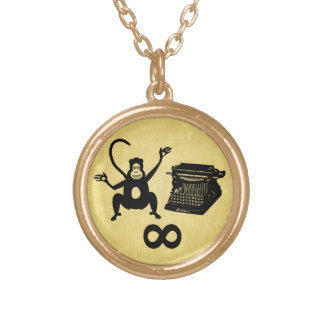 Funny Writer Monkey Typewriter Infinity Gold Plated Necklace