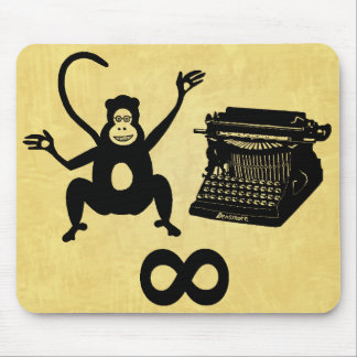 Funny Writer Monkey Typewriter Infinity Mouse Pad
