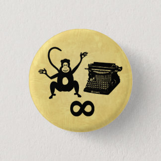 Funny Writer Monkey Typewriter Infinity Pinback Button
