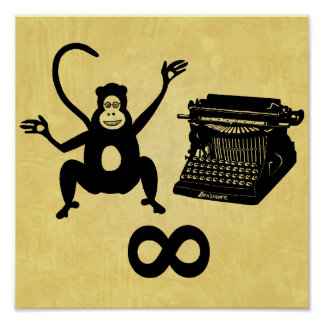 Funny Writer Monkey Typewriter Infinity Poster