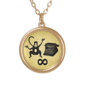 Funny Writer Monkey Typewriter Infinity Round Pendant Necklace