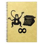 Funny Writer Monkey Typewriter Infinity Spiral Notebook