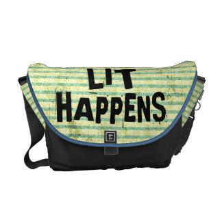 Funny Writer Reader Lit Happens Messenger Bags