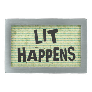 Funny Writer Reader Lit Happens Rectangular Belt Buckle
