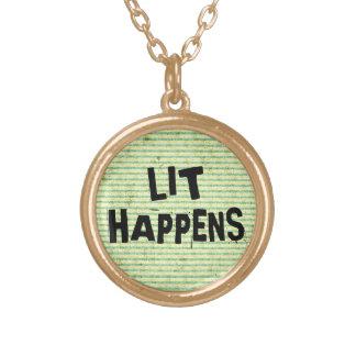 Funny Writer Reader Lit Happens Round Pendant Necklace