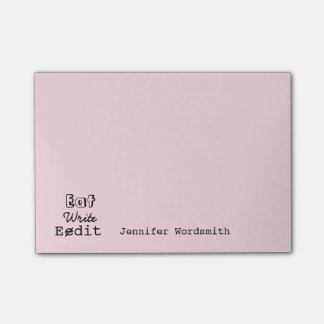 Funny Writers Life Eat Write Edit Personalized Post-it Notes