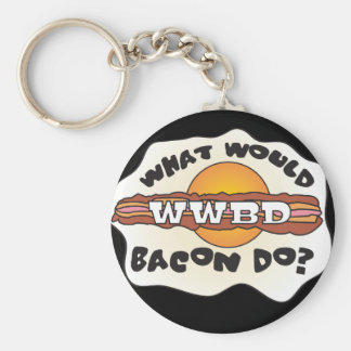 Funny WWBD, What Would Bacon Do? Basic Round Button Keychain