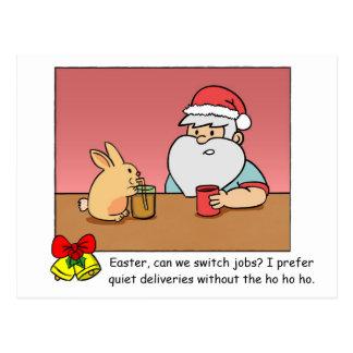 Funny X'mas Postcard: Santa changing jobs Postcard