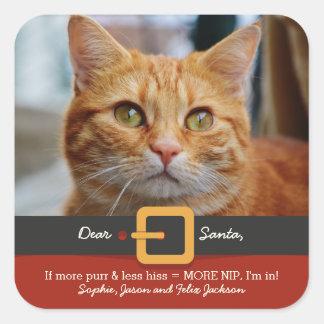 Funny Xmas Santa Cat More Purr Less Hiss Photo Square Sticker