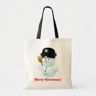 Funny Xmas Snowman Cartoon Tote Bag