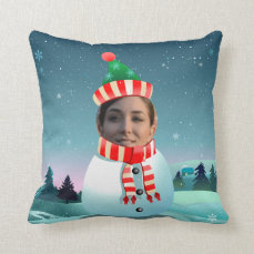 Funny Xmas Snowman With Any Picture You Like Throw Pillow